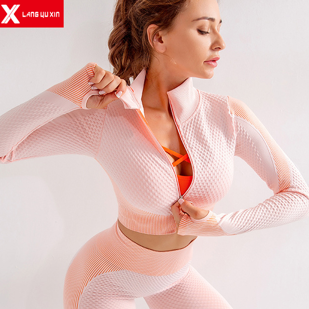 2020 New Women's Yoga Gym Sport Long Sleeve Shirt  Athletic Shirts Activewear Running Workout Tops T-Shirt