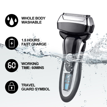 4 Blade Professional Men Shaver Rechargeable Electric Razor Wet & Dry For Men Beard Trimmer Shaving Machine LCD Display 2