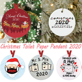 2020 Quarantine Christmas Tree Ornament Friends Gift Santa With Mask XMAS Holiday Decoration Christmas Toilet Paper Pendant image