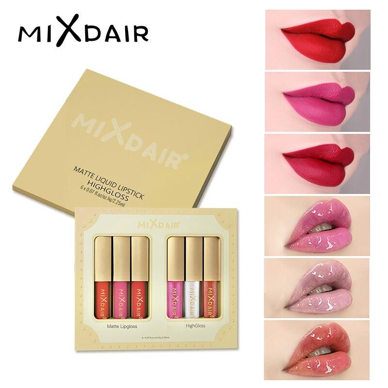 MIXDAIR Líquido Fosco Batom Para Os Lábios À Prova D' Água de Longa-duração Sexy Glitter Red Lip Bruto Destaque Líquido Hidratante Lábios