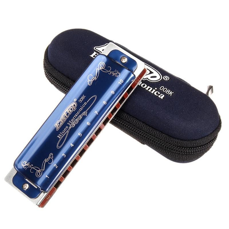 Easttop T008K 10 trous Blues Harmonica Version limitée couleur bleue harpe diatonique Instrument de musique A B C D E F G clés avec étui