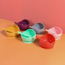 1 conjunto de silicone tigela de alimentação do bebê conjunto de pratos de aprendizagem tigela de sucção colher antiderrapante conjunto de louça colher e tigelas