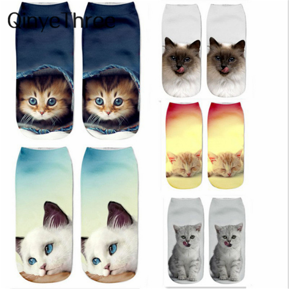New 3D Printing Women Socks Brand Sock Fashion Unisex Socks Cat Meias Feminina Funny Low Ankle HOT Kitten Socks Dropship