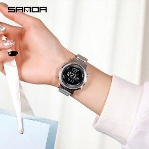 Image 5 - 2019 SINDA marque de mode en acier maille bande de luxe Couple robe Quartz montre bracelet amoureux Simple décontracté orologi coppia
