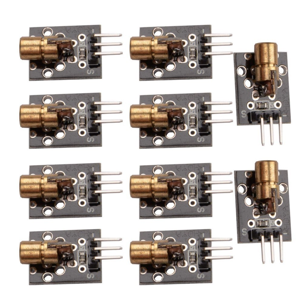 10 PCS KY-008 650nm 5V Red Laser Sensor 6mm 5mW Transmitter Module Dot Diode Copper Head For Arduino UNO MEGA 2560