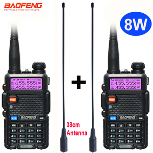 Image 1 - 2 adet 8W Baofeng UV 5R radyo seti Walkie Talkie UV 5R UV5R iki yönlü radyo istasyonu verici USB dişi yumuşak anten 771