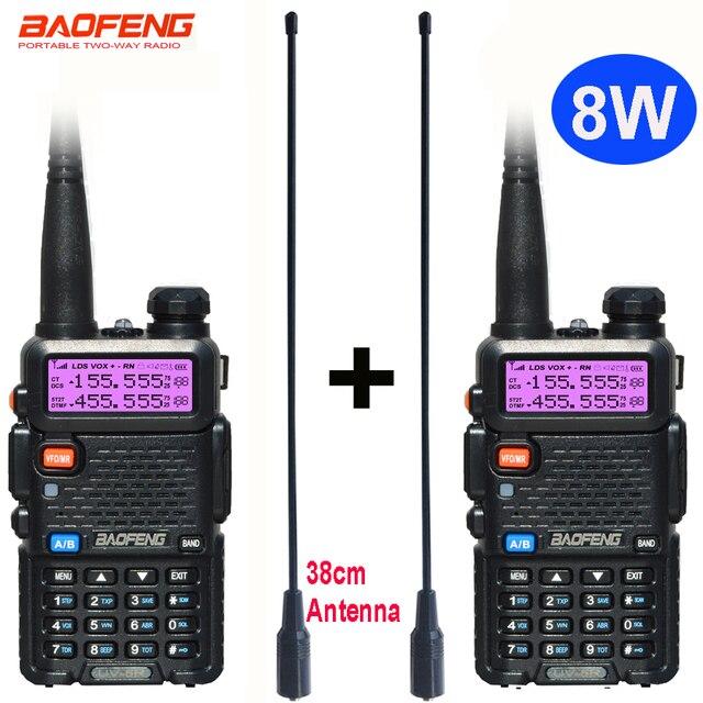 2 adet 8W Baofeng UV 5R radyo seti Walkie Talkie UV 5R UV5R iki yönlü radyo istasyonu verici USB dişi yumuşak anten 771