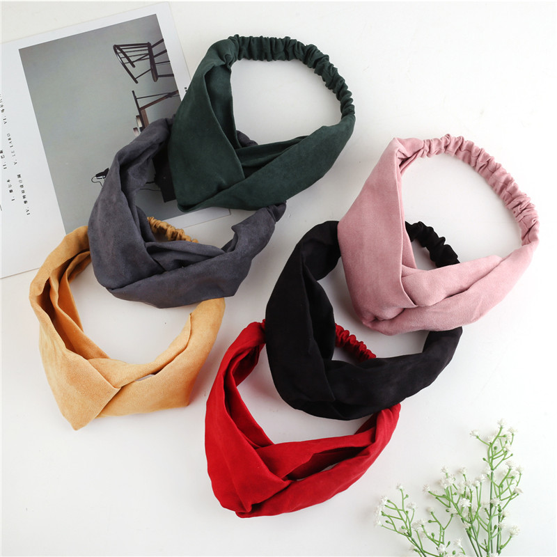 Fashion Lady Headdress Plaid Bow Headband Solid Suede Cross Hair Band Turban Elastic Headwear Head Wrap Women Hair Accessories