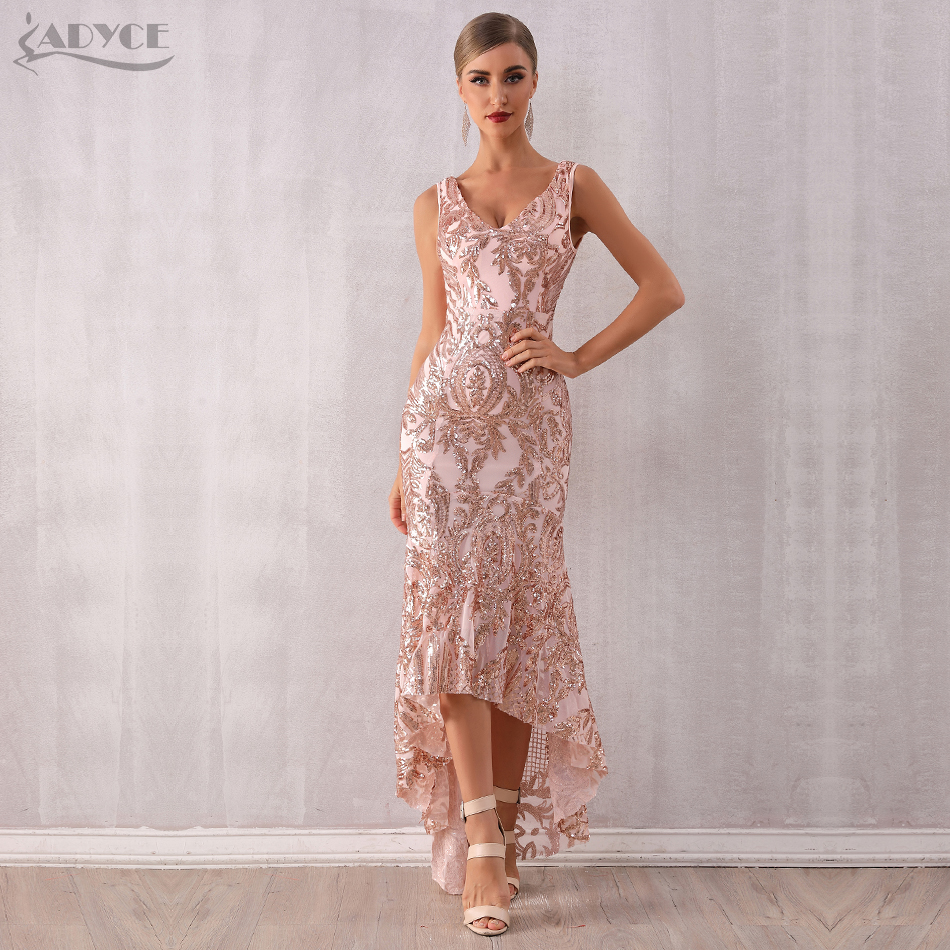 Adyce 2019 New Summer V Neck Women Sequined Club Dress Vestidos Sexy Backless Spaghetti Strap Bodycon Mermaid Dress Maxi Long Ce