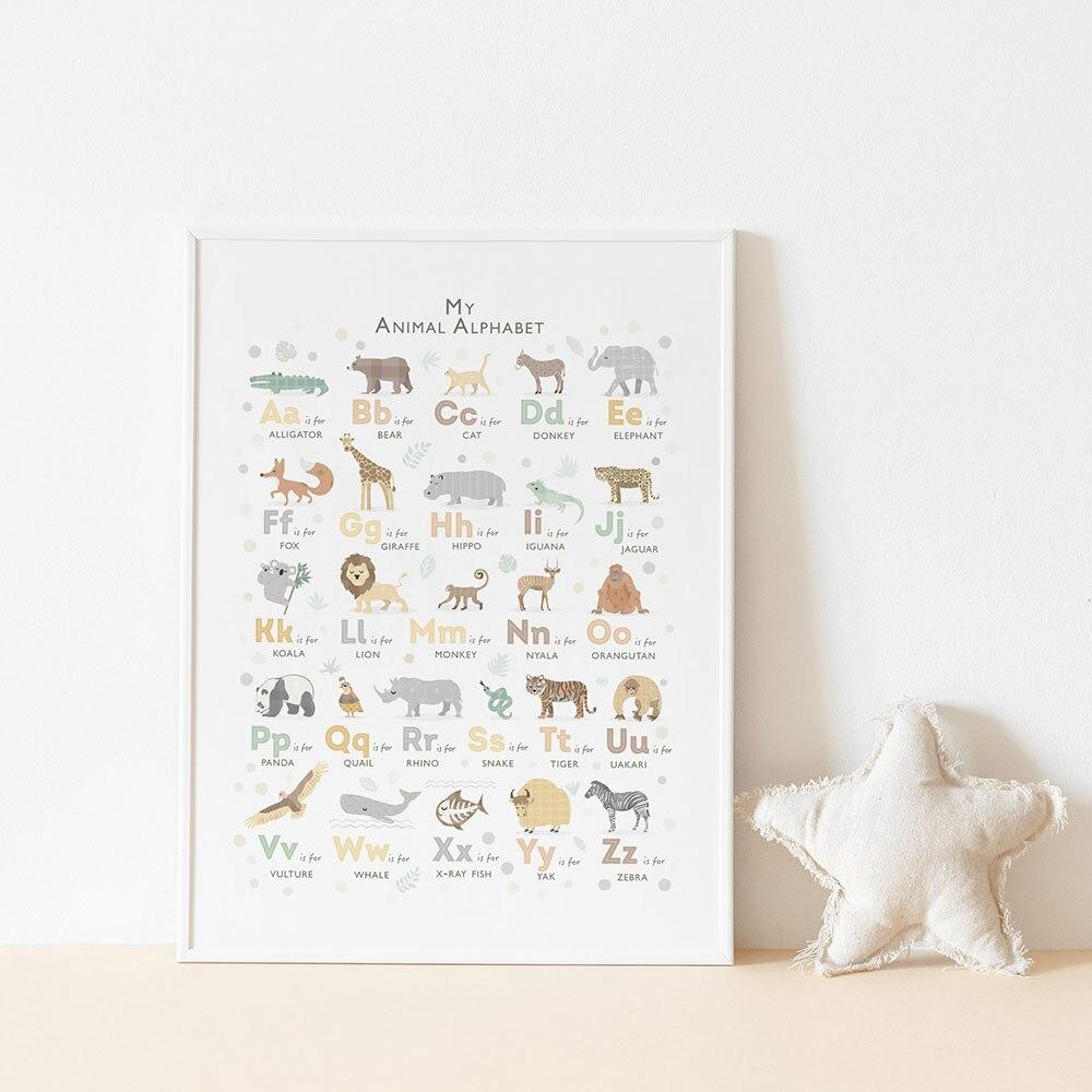 Safari Animal Alphabet Poster Nursery Boho Canvas Painting Baby Art Print Nordic Modern Wall Picture For Kids Room Home Decor