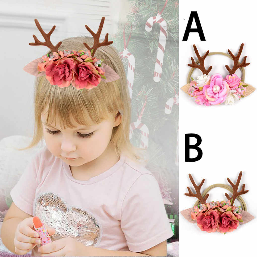 MUQGEW Christmas Headband Kids Baby Girls Hair Band Antler Ears Nylon Headband Children's Hair Accessories Jy6