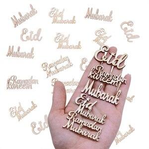 Image 3 - Деревянные чипы Eid Mubarak, 15/30/60 шт., украшения для мусульманского ИД Мубарак, Рамадан, алфавит, деревянные конфетти, DIY украшения для скрапбукинга