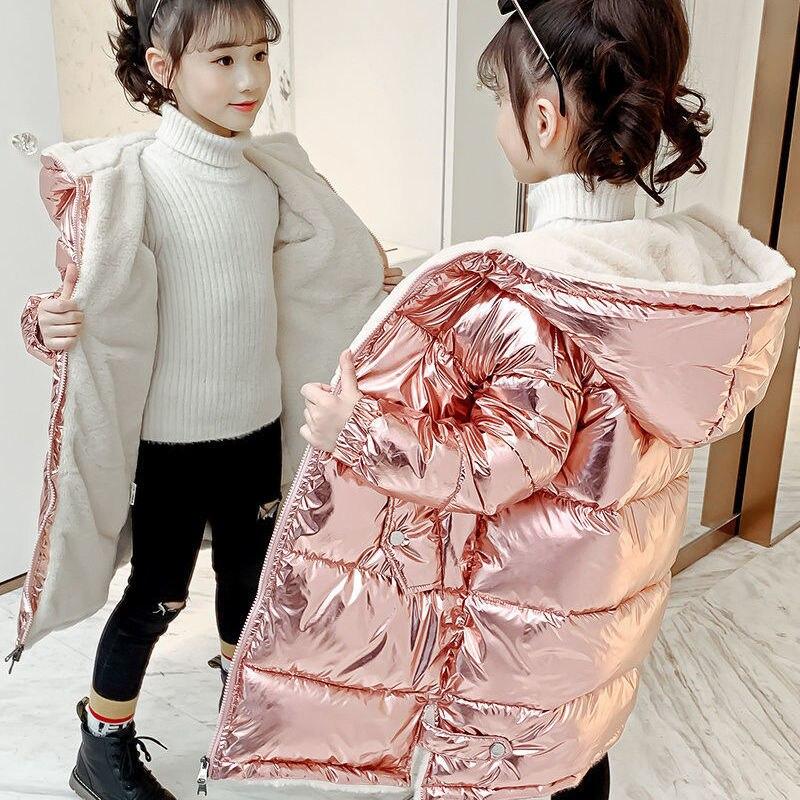 Модное блестящее зимнее длинное пуховое пальто для детей, пуховик для маленьких мальчиков и девочек, теплая детская одежда, детская одежда ...