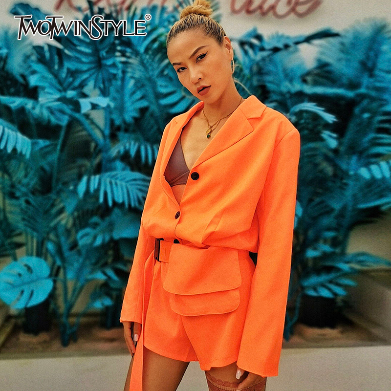 TWOTWINSTYLE Casual Loose Playsuits V Neck Long Sleeve High Waist With Sashes Short Jumpsuit Female Clothing 2020 Spring Tide