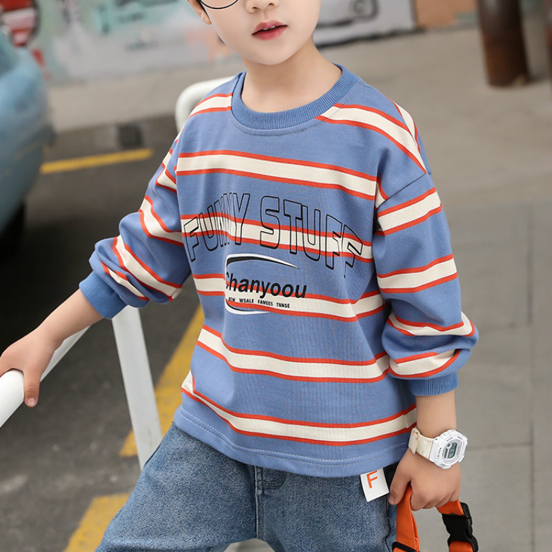 Children's wear boy's clothing children's striped long sleeve T-shirt net red 2020 spring new wave baby boy outfit