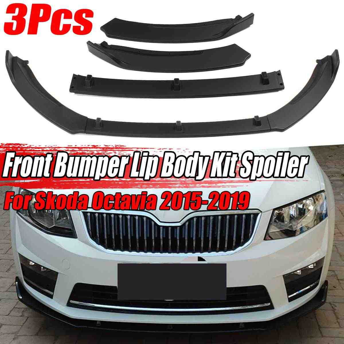 Serat Karbon Terlihat/Hitam Mobil Depan Bumper Splitter Lip Spoiler Diffuser Pelindung Tubuh Kit Trim untuk Skoda Octavia 2015-2019
