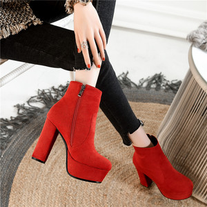 Image 4 - MORAZORA 2020 new top quality faux suede boots women high heels platform ankle boots for women zipper autumn winter shoes female