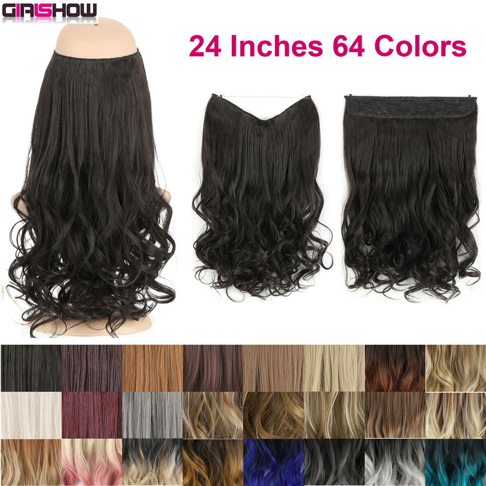 GIRLSHOW Wavy Halo Hair Extensions 24