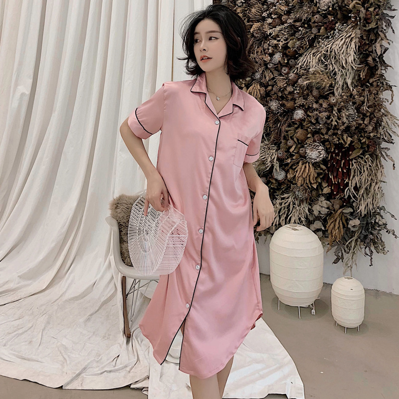Summer New Style Short Sleeve Women's Imitated Silk Fabric Nightgown Hot Selling Solid Color Cardigan Long Skirts Large Size Shi