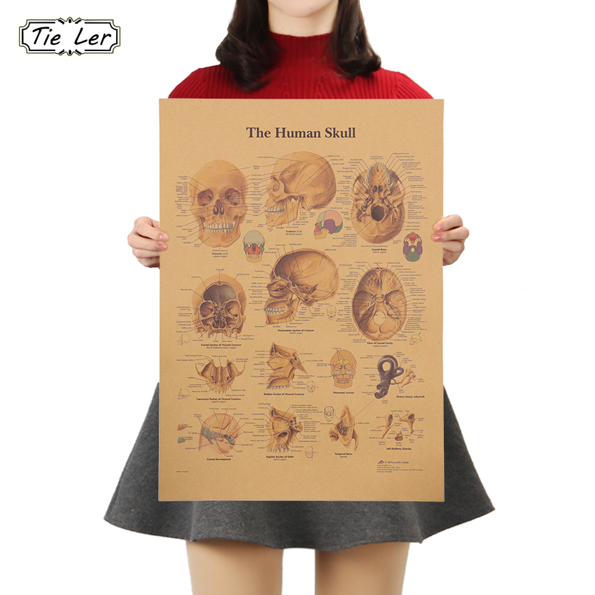 TIE LER The Skeleton Of The Body Structure Nervous System Poster Bar Home Decor Retro Kraft Paper Wall Sticker 42x30cm