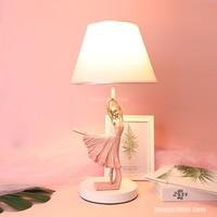Nordic Pink Ballet Table Lamp Modern LED Resin Dimmable Table Lamp Bedroom Girl Decoration Children's Desk Lamp Nightstand Lamp