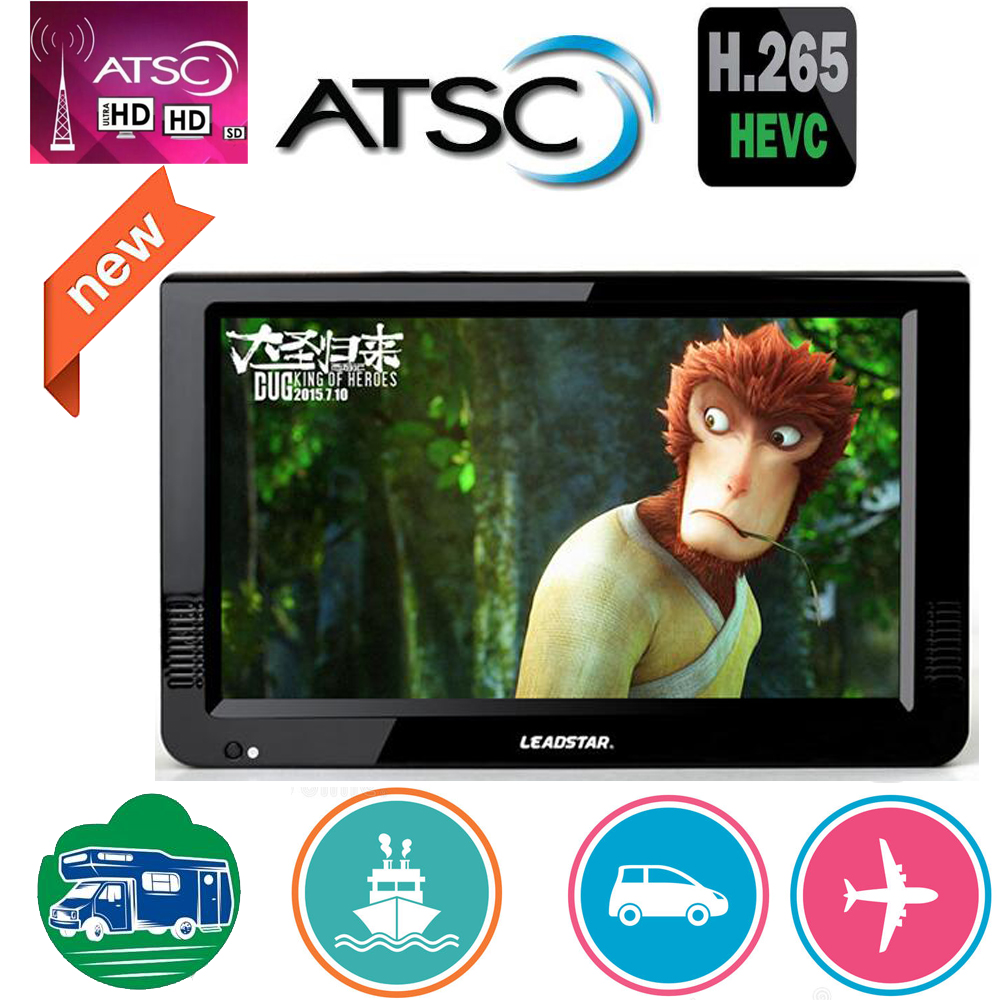 Leadstar 10 Inch Atsc T &Analog Portable Mini Tv Support H265/Hevc Dolby Ac3 HDMI INPUT Used At Home Car Boat Atsc Decoder