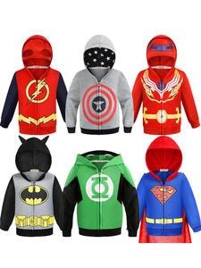 Boy Hoodies Sweatshirt Spider-Man-Coats Kids Clothes Batman The-Flash Captain-America