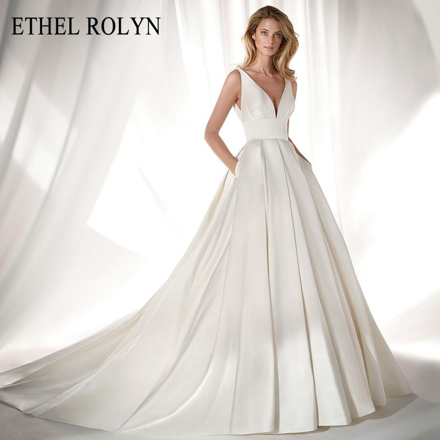 ETHEL ROLYN Elegant Satin Vintage Wedding Dress 2020 Sexy V-neckline Bow Simple A-Line Bridal Gowns Vestido De Noiva Plus Size