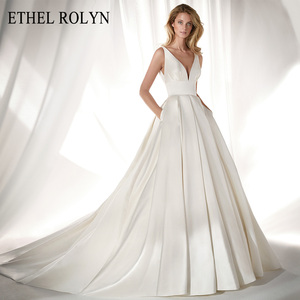 Image 1 - ETHEL ROLYN Elegant Satin Vintage Wedding Dress 2020 Sexy V neckline Bow Simple Bride A Line Bridal Gowns Vestido De Noiva