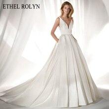 エセルrolynエレガントなサテンヴィンテージのウェディングドレス2020セクシーなvネック弓シンプルな花嫁aラインブライダルドレスvestidoデnoiva