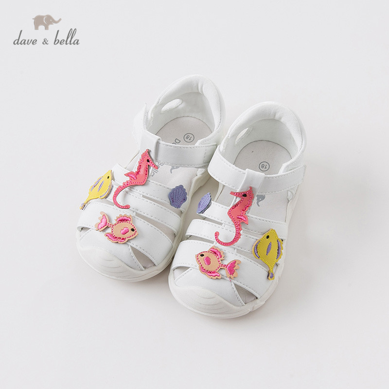 DB13752 Dave Bella Summer Baby Girls Fashion Sandals New Born Infant Shoes Sandals Cartoon Appliques Shoes