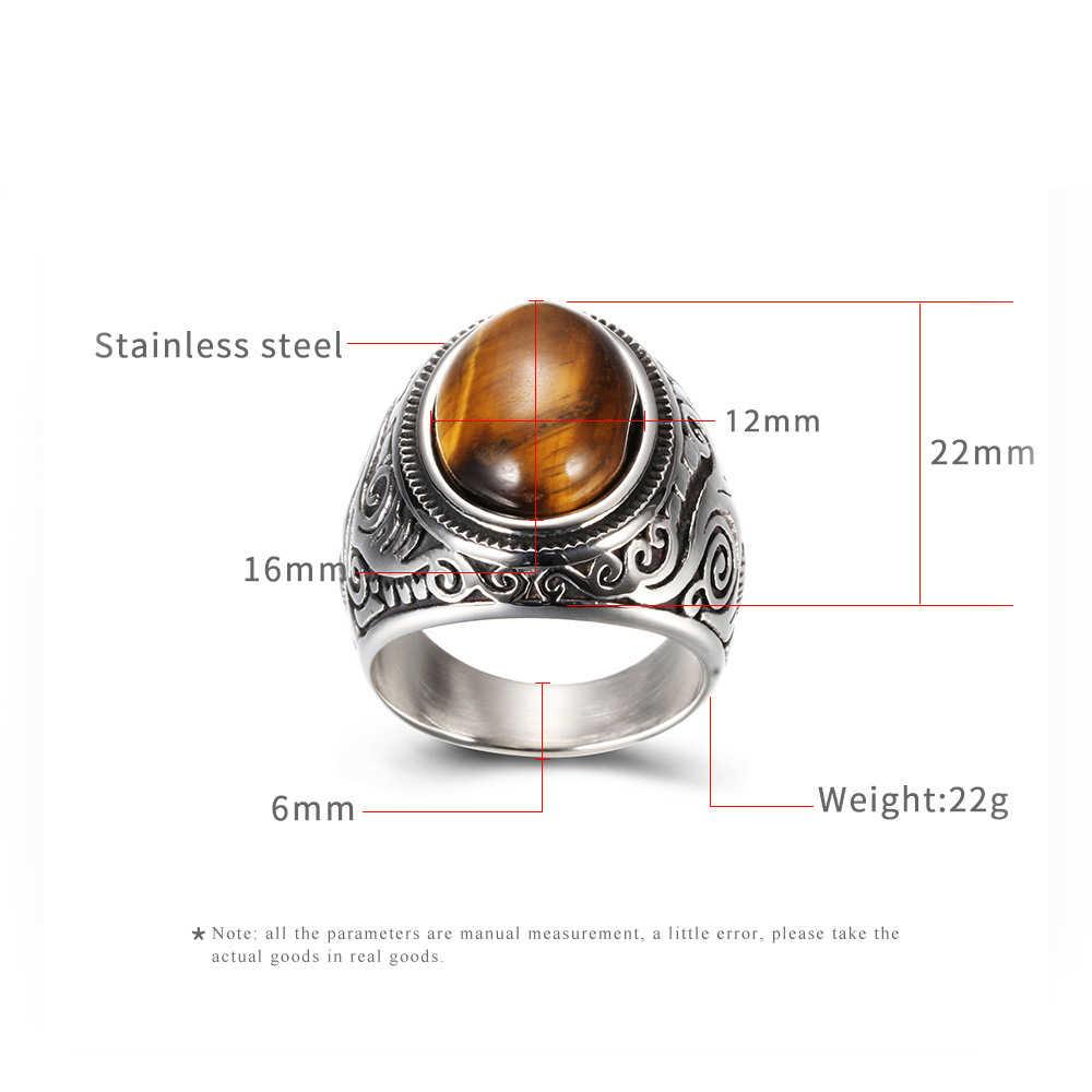 Oval Batu Pria Cincin Signet Seal Pria Cincin Perak Warna Klasik Stainless Steel Perhiasan Gothic Pernikahan Pertunangan DCR004