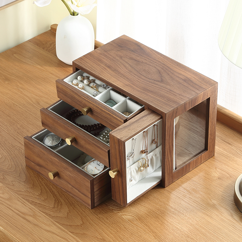 Casegrace Luxury New Large Wooden Jewelry Box Organizer 4 Drawer Wood Earring Ring Necklace Watch Jewellery