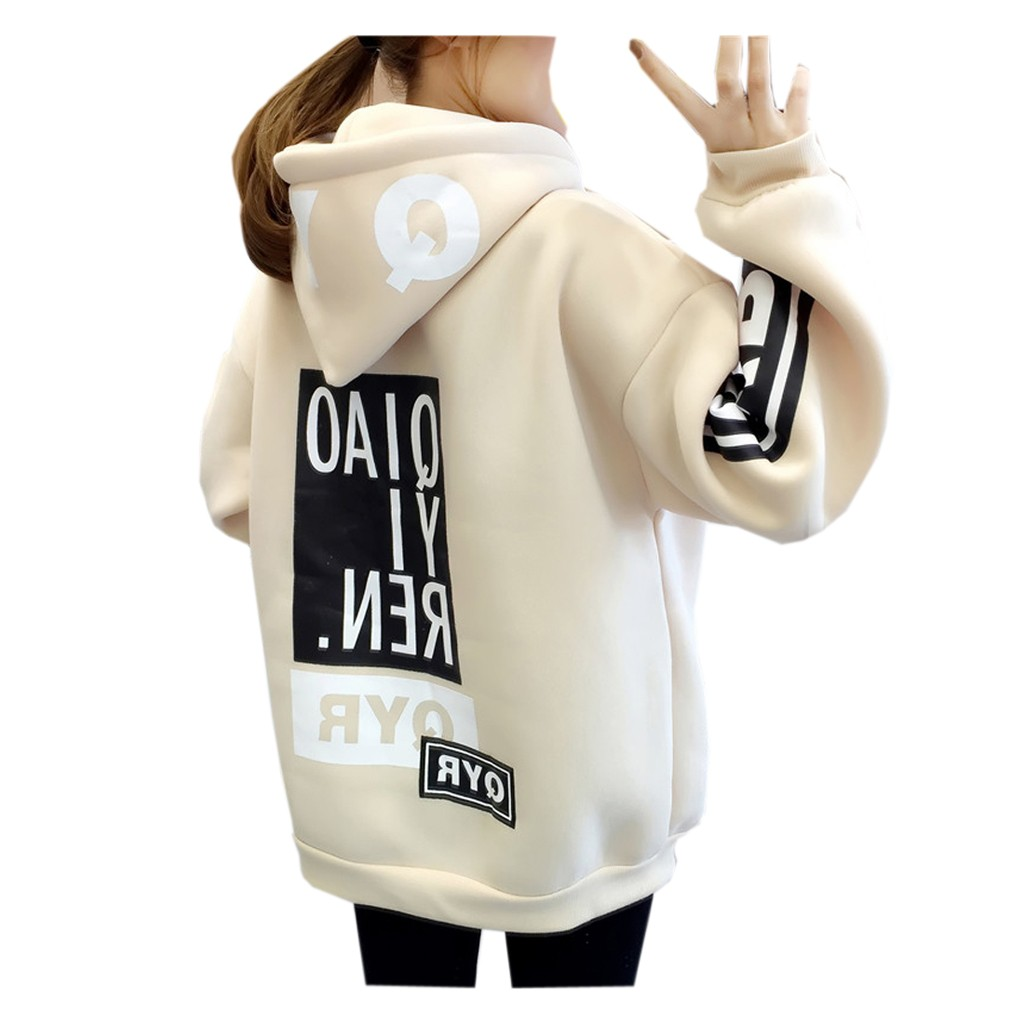 Hooded Pullover Sweatshirt Blouse Letter Long-Sleeve Female Womens Autumn Student -B title=