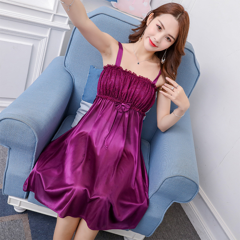 According To Feminine # Summer New Style Viscose Nightgown Pajamas Women's Big Skirt Slip Nightdress Tracksuit