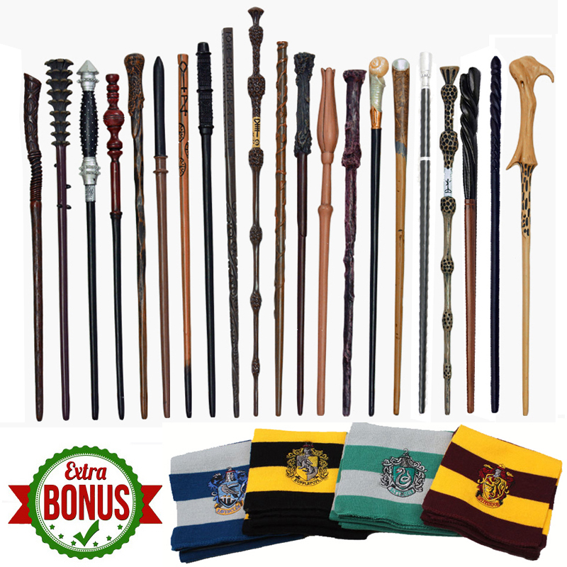 28 Kind Metal Core Potters Magic Wands Dumbledore Snape Hermione Ron Malfoy Narcissa Harried Magic Wand 1Scarf As Gift No Box