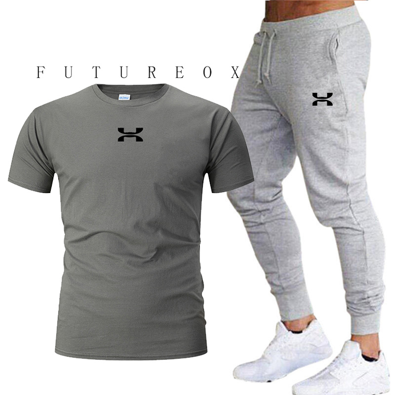 2020 men's summer sports suit sweatshirt pants running suit clothes sports jogging training fitness jogging high quality leisure title=