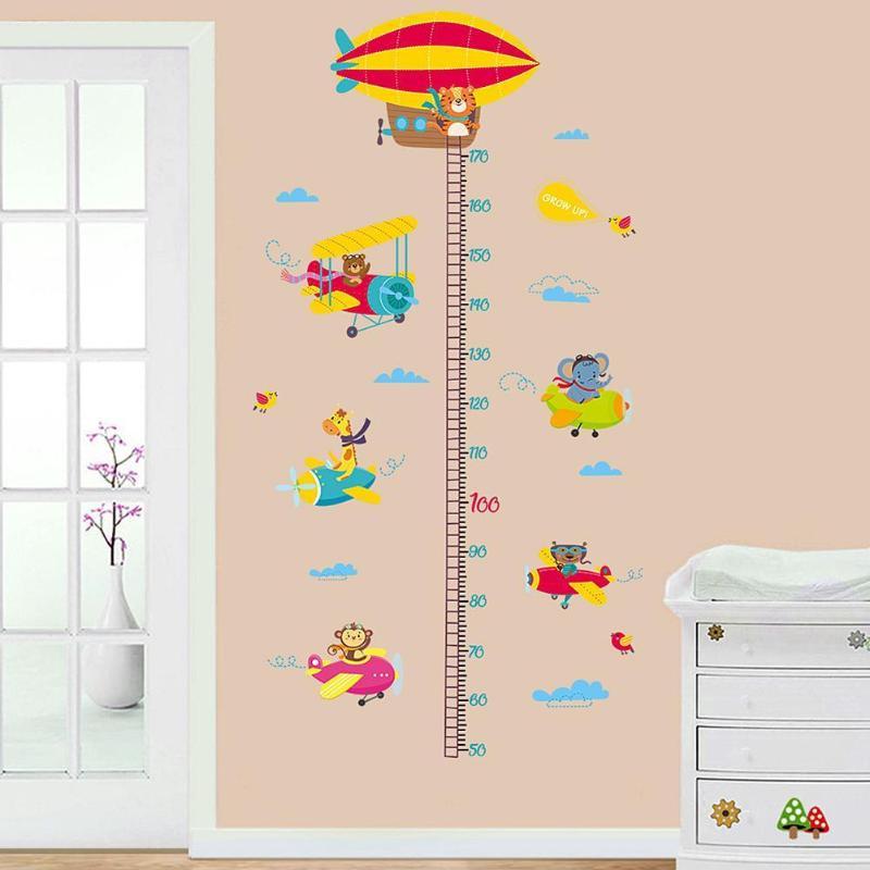 2шт животные самолет Мультфильм Высота линейка настенные наклейки для детского сада наклейки - 6