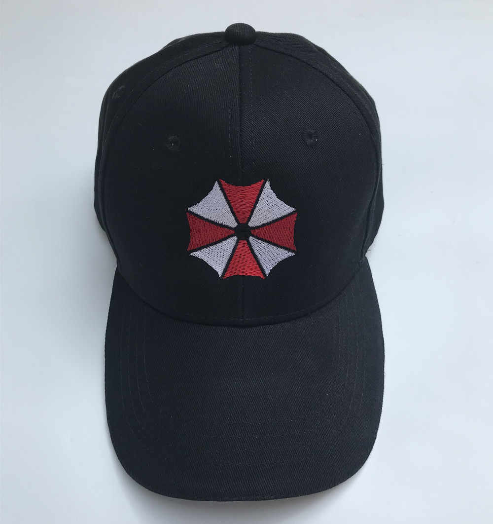 Biohazard Payung Corporation Logo Anime Hitam Topi Bordir Cosplay Topi Bisbol