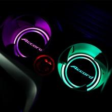 2Pcs RGB USB Accord Logo Car LED Cup Holder Mat Colorful Light For Honda Accord 7 8 9 10 2020 2019 2018 2017 2016 2015 - 2003