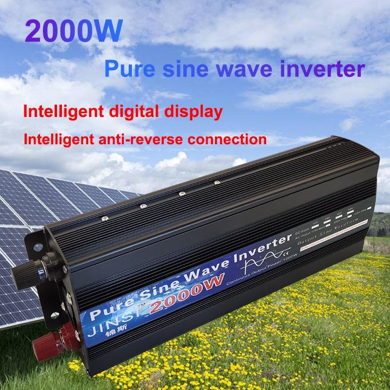 Pure Sine Wave Inverter 1000W 1600W 2000W DC 12V / 24V AC 110V 220V 50Hz 60Hz Power Inverter Home Car Converter Solar Energy