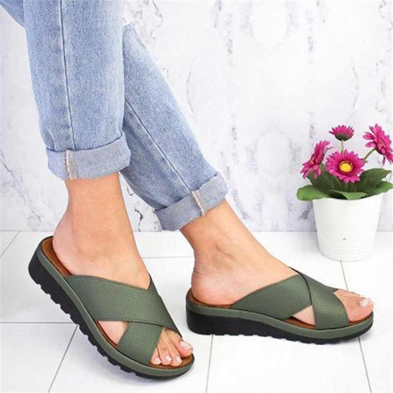 Dihope 2020 Dropshipping Musim Panas Sepatu Outdoor Cross Sandal Mid Tumit Lembut Bawah Nyaman Sandal Sandalias Sepatu