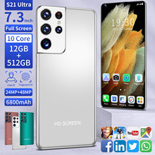Global Version 7.3 Inch S21 MTK6889 Ultra Cell Phones 12GB RAM 512GB ROM 24+48MP 10 Core Dual SIM 4G LTE 5G Network Mobile Phone