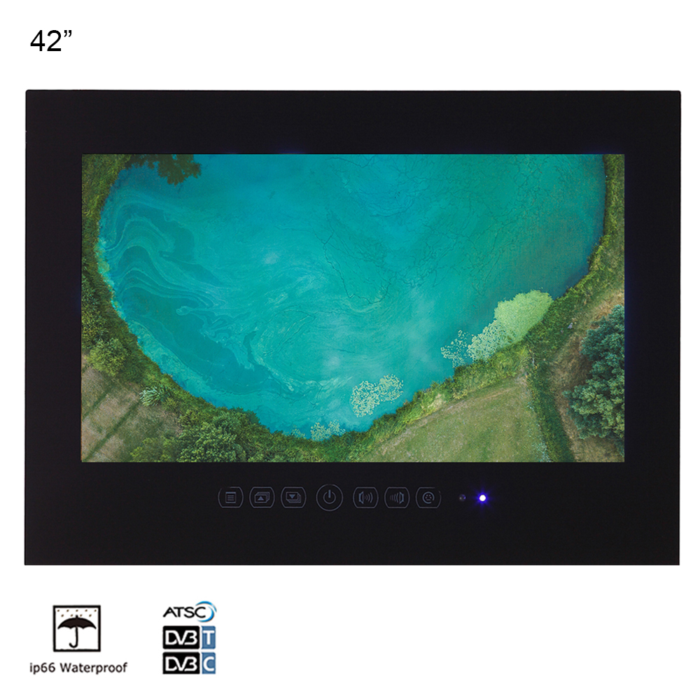 Souria 42 Inches Black Color IP66 Waterproof LED TV Big Screen Wall SPA Entertainment Salon Sauna Room