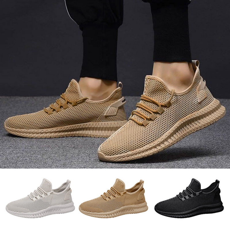 Men Mesh Sneakers 2020 Summer Breathable Lace Up Men Shoes Fashion Casual No-slip Vulcanize Shoes Tenis Masculino Outdoor Sport
