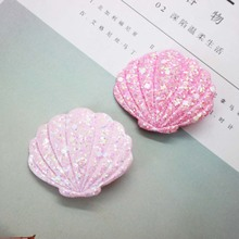 Wholesale 2pcs/lot pink shell sequin hair clips pu glitter s