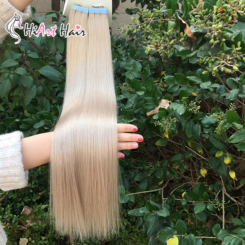 "HiArt Tape In Human Hair Extensions 2.5g/pc Salon Skin Weft Hair Extension Adhesive Tape On Remy Hair Straight 18""20""22"""
