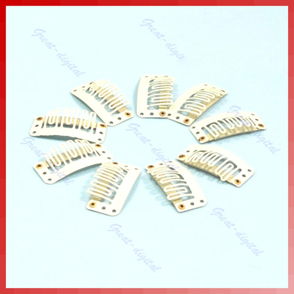 10X U Blonde Shape Snap Clip For Hair Extension/wig/weft Clip32mm
