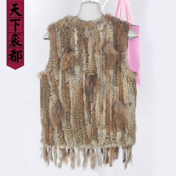 Women real rabbit fur vest with tassel winter autumn lady genuine rabbit fur gilet knitted hot sale