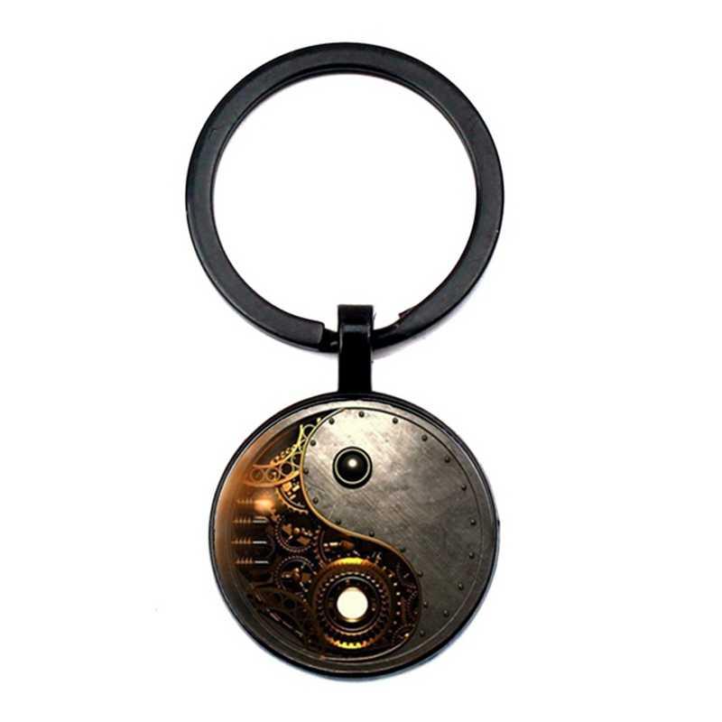 매력 steampunk 음과 양 사진 타이지 키 체인 티벳 실버 레트로 카보 숑 유리 펜던트 열쇠 고리 남성과 여성 최고의 선물